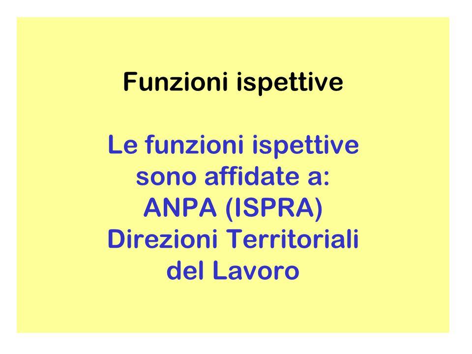 Funzioni ispettive Le funzioni ispettive sono affidate a: ANPA (ISPRA) Direzioni Territoriali del Lavoro