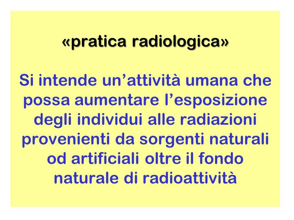 «pratica radiologica» «pratica radiologica» Si intende unattività umana che possa aumentare lesposizione degli individui alle radiazioni provenienti da sorgenti naturali od artificiali oltre il fondo naturale di radioattività