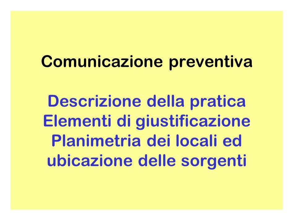 Comunicazione preventiva Descrizione della pratica Elementi di giustificazione Planimetria dei locali ed ubicazione delle sorgenti