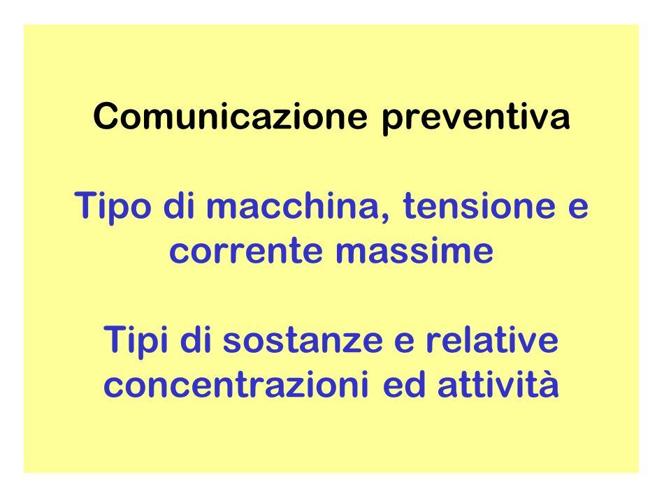 Comunicazione preventiva Tipo di macchina, tensione e corrente massime Tipi di sostanze e relative concentrazioni ed attività