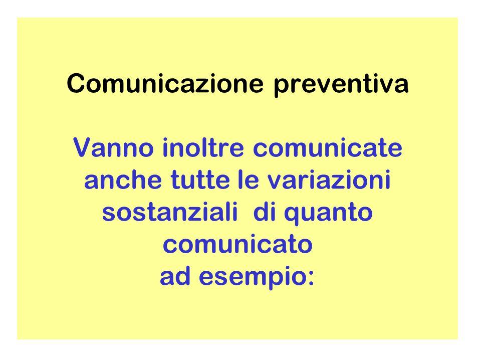 Comunicazione preventiva Vanno inoltre comunicate anche tutte le variazioni sostanziali di quanto comunicato ad esempio: