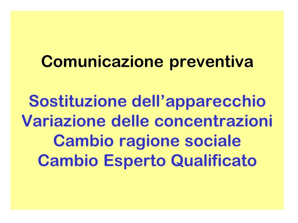 Comunicazione preventiva Trasferimento dei locali (nuova comunicazione preventiva)