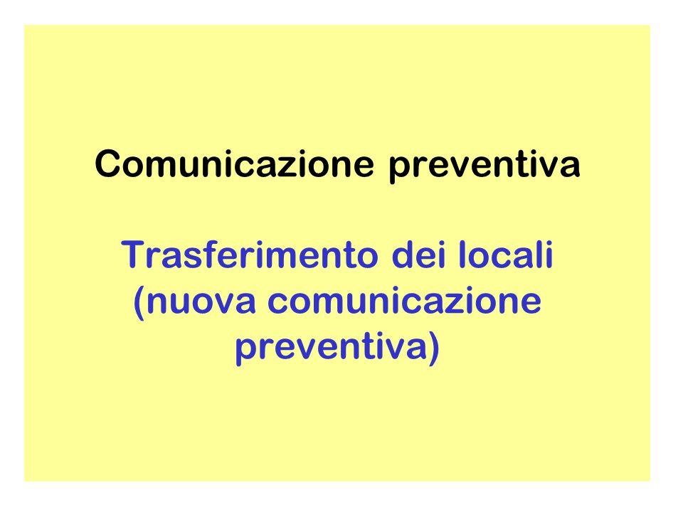 Comunicazione preventiva Va preventivamente comunicata anche lintenzione di cessazione di pratica (30 giorni prima)