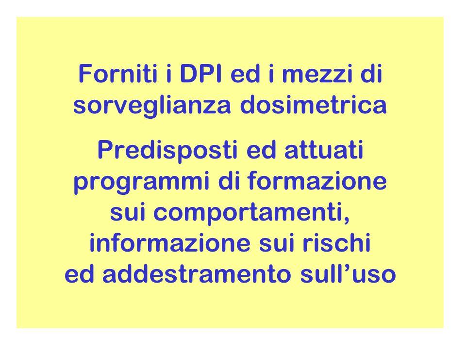 Forniti i DPI ed i mezzi di sorveglianza dosimetrica Predisposti ed attuati programmi di formazione sui comportamenti, informazione sui rischi ed addestramento sulluso