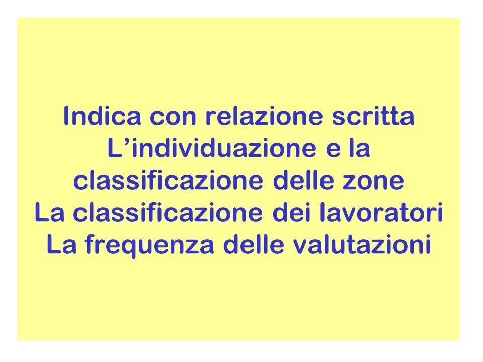 Indica con relazione scritta Lindividuazione e la classificazione delle zone La classificazione dei lavoratori La frequenza delle valutazioni
