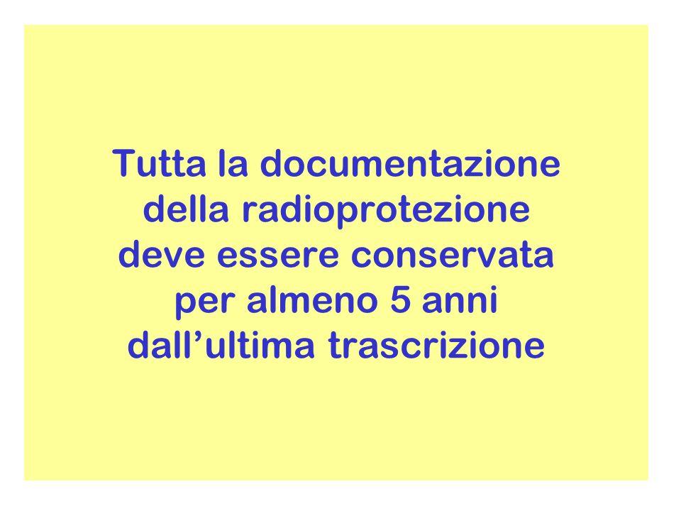 Tutta la documentazione della radioprotezione deve essere conservata per almeno 5 anni dallultima trascrizione
