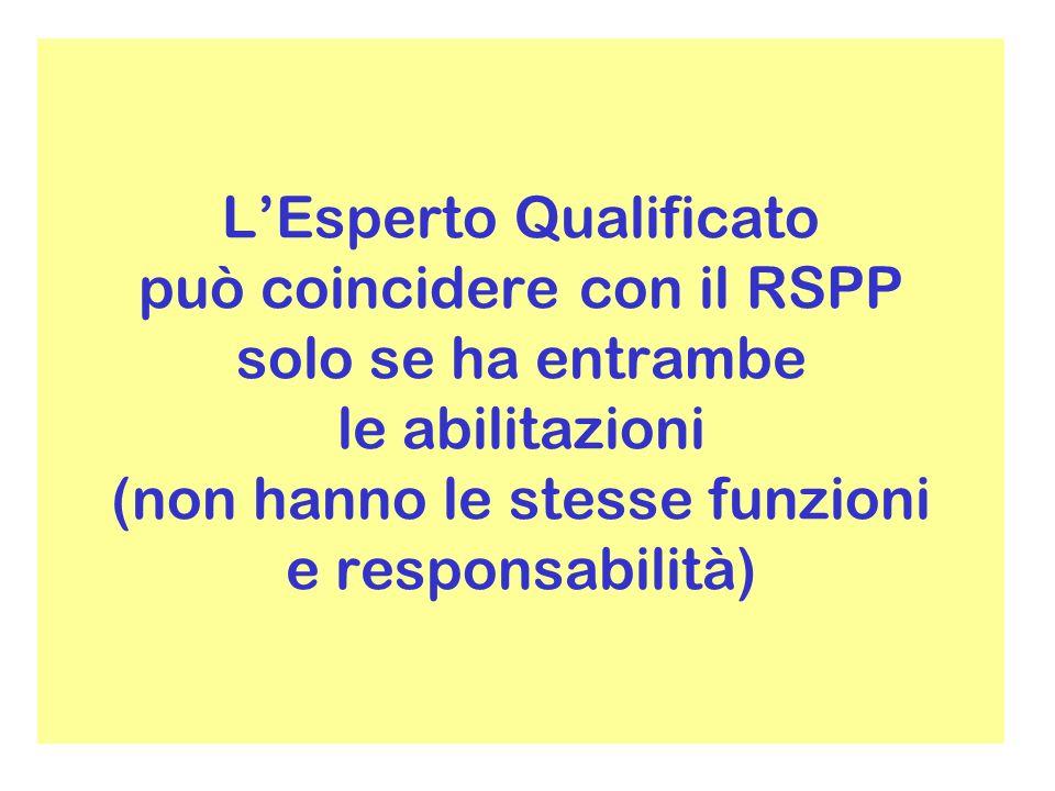 LEsperto Qualificato può coincidere con il RSPP solo se ha entrambe le abilitazioni (non hanno le stesse funzioni e responsabilità)