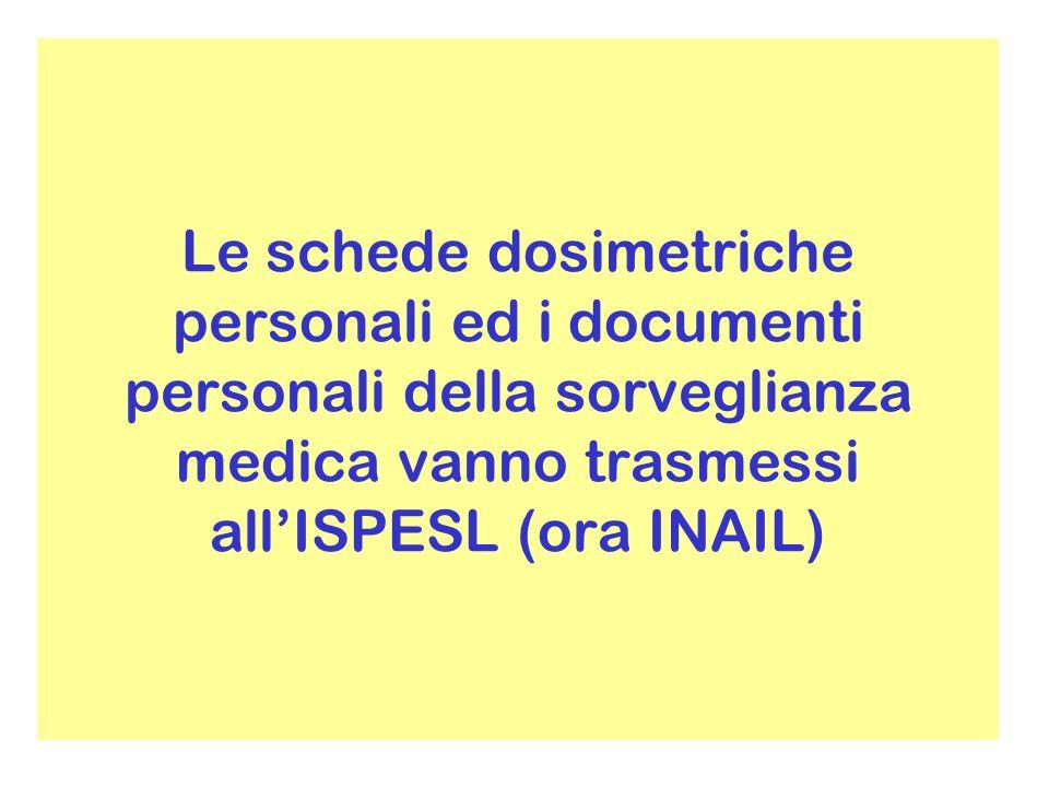 Le schede dosimetriche personali ed i documenti personali della sorveglianza medica vanno trasmessi allISPESL (ora INAIL)