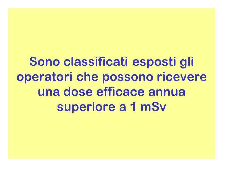 Se vi è la possibilità di superare i 6 mSv/anno gli operatori sono classificati esposti di «categoria A» e quindi soggetti a sorveglianza dosimetrica e sanitaria personale