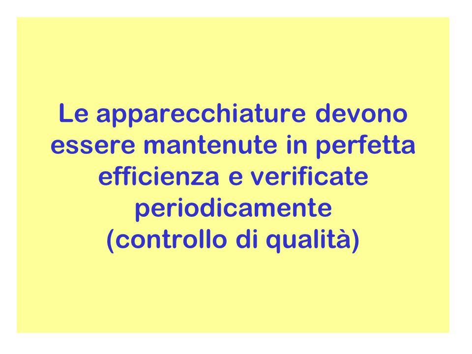 Le apparecchiature devono essere mantenute in perfetta efficienza e verificate periodicamente (controllo di qualità)