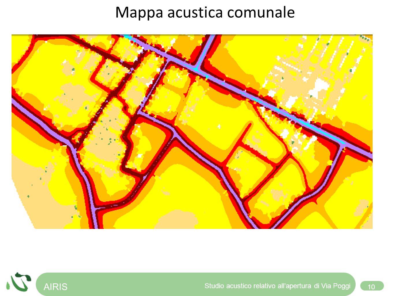 Verifica dei problemi e alternative Mappa acustica comunale AIRIS 10 Studio acustico relativo allapertura di Via Poggi