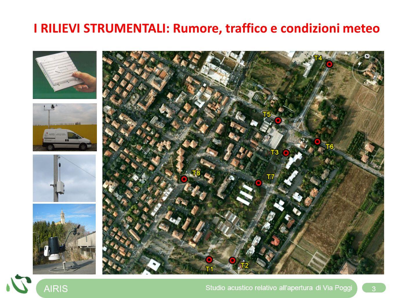 AIRIS 3 Studio acustico relativo allapertura di Via Poggi I RILIEVI STRUMENTALI: Rumore, traffico e condizioni meteo