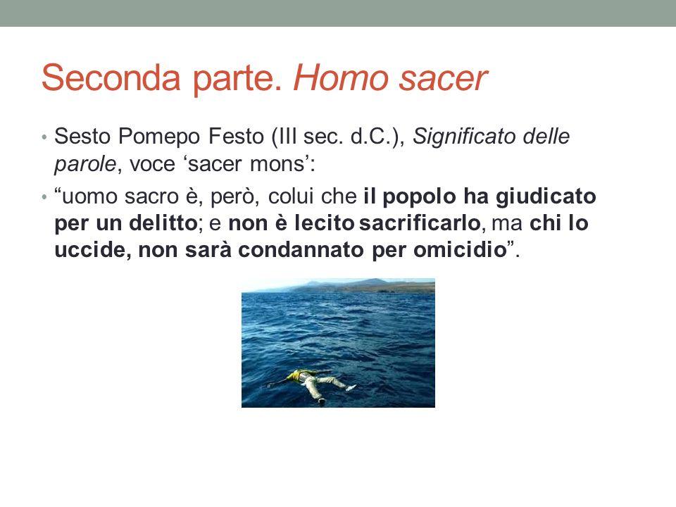Seconda parte. Homo sacer Sesto Pomepo Festo (III sec. d.C.), Significato delle parole, voce sacer mons: uomo sacro è, però, colui che il popolo ha gi