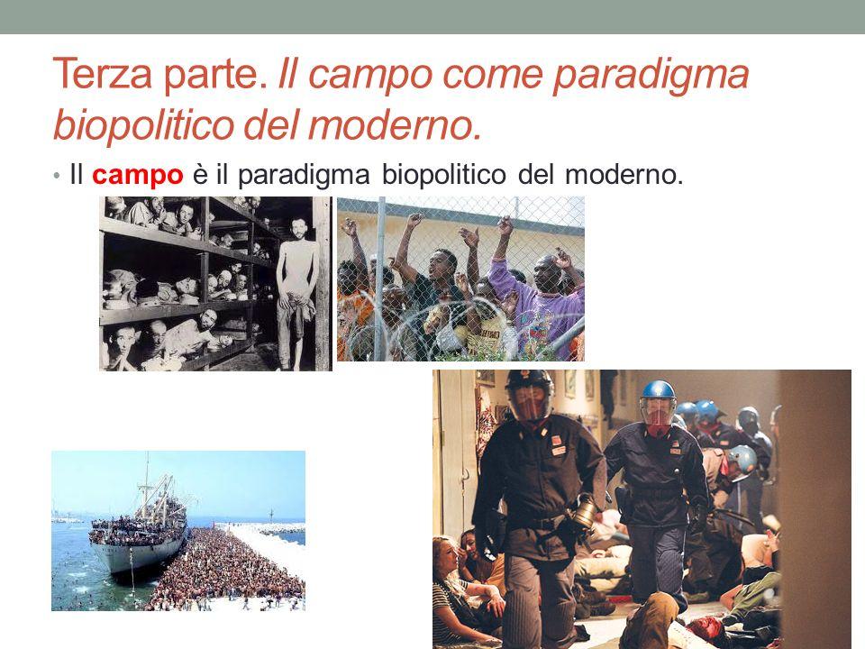 Terza parte. Il campo come paradigma biopolitico del moderno. Il campo è il paradigma biopolitico del moderno.