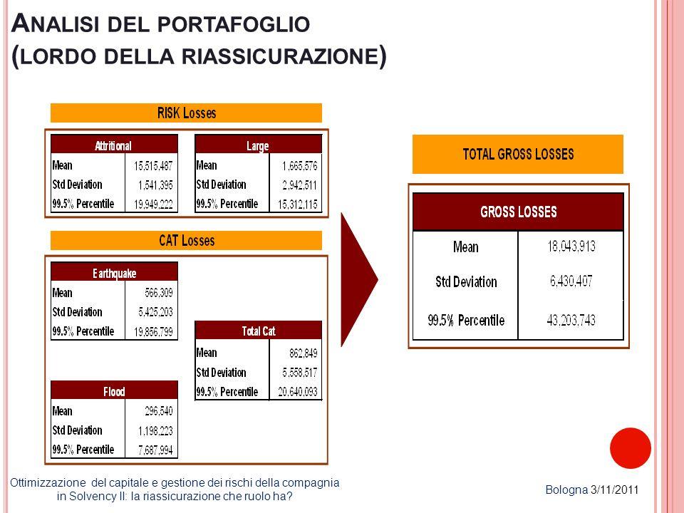 A NALISI DEL PORTAFOGLIO ( LORDO DELLA RIASSICURAZIONE ) Ottimizzazione del capitale e gestione dei rischi della compagnia in Solvency II: la riassicu