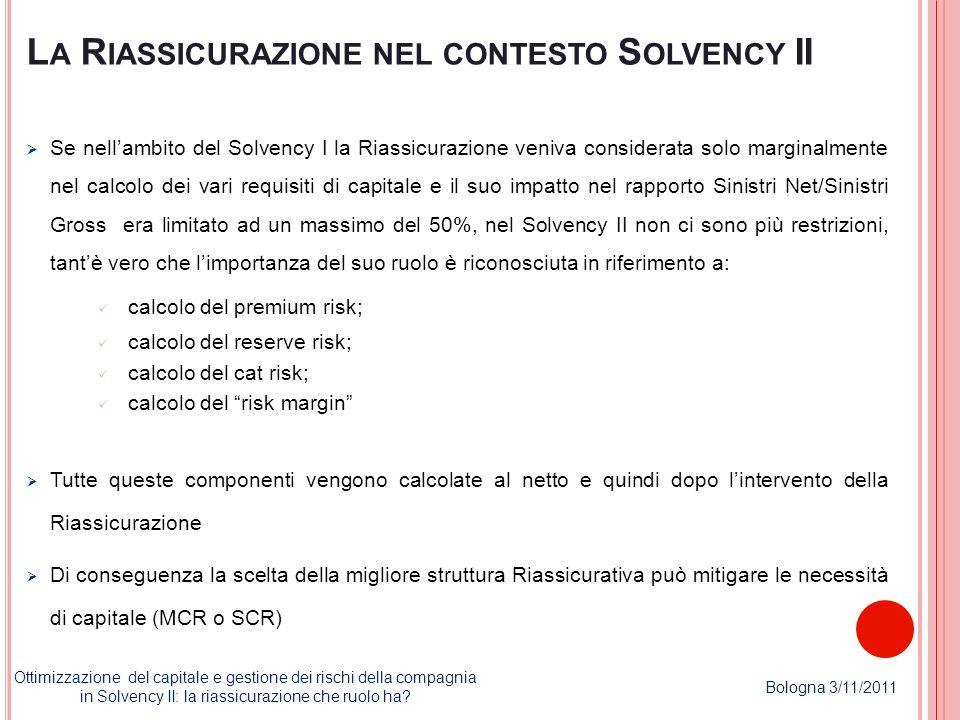 L A R IASSICURAZIONE NEL CONTESTO S OLVENCY II Se nellambito del Solvency I la Riassicurazione veniva considerata solo marginalmente nel calcolo dei v