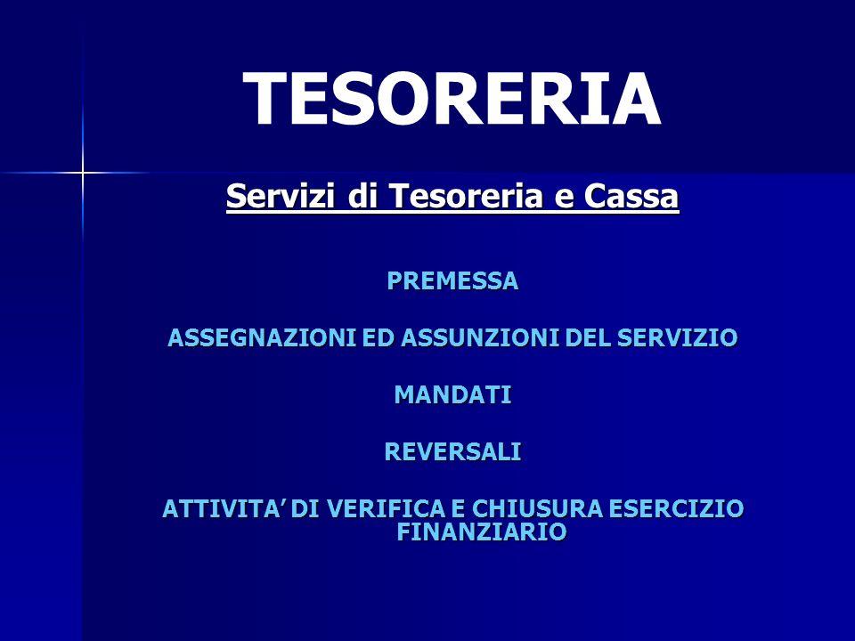 TESORERIA Servizi di Tesoreria e Cassa PREMESSA ASSEGNAZIONI ED ASSUNZIONI DEL SERVIZIO MANDATIREVERSALI ATTIVITA DI VERIFICA E CHIUSURA ESERCIZIO FIN