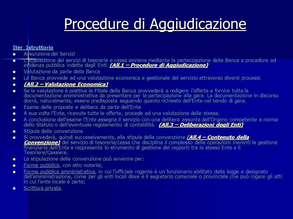 Procedure di Aggiudicazione Iter Istruttorio Assunzione dei Servizi Assunzione dei Servizi Lacquisizione dei servizi di tesoreria e cassa avviene medi