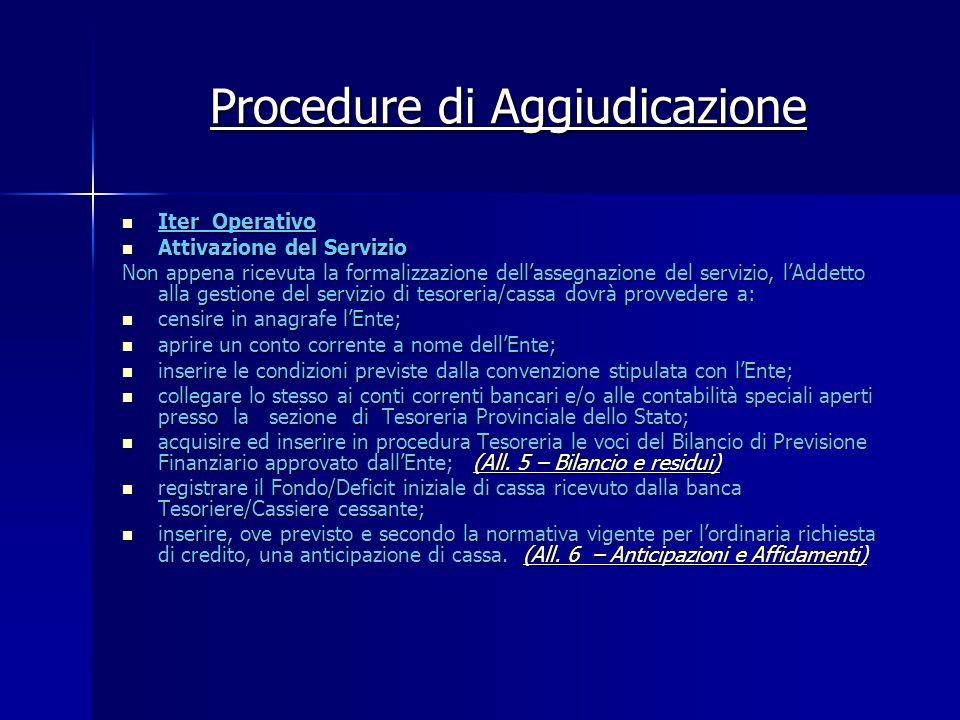 Procedure di Aggiudicazione Iter Operativo Iter Operativo Attivazione del Servizio Attivazione del Servizio Non appena ricevuta la formalizzazione del