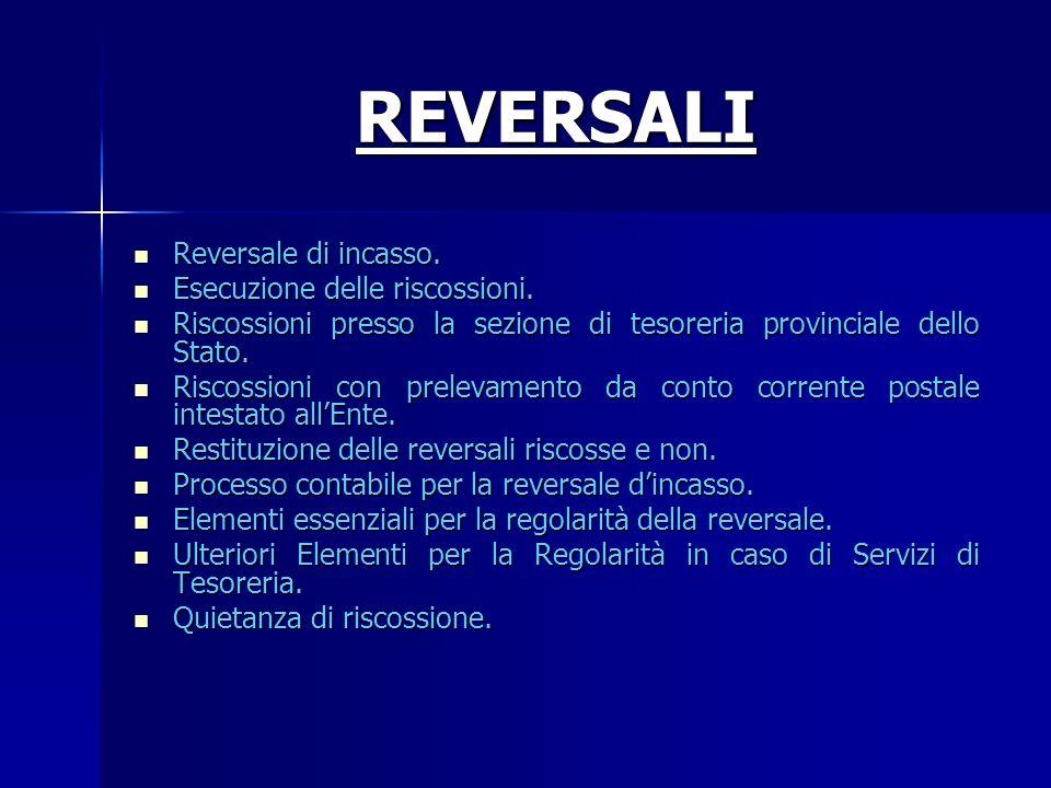 REVERSALI Reversale di incasso. Reversale di incasso. Esecuzione delle riscossioni. Esecuzione delle riscossioni. Riscossioni presso la sezione di tes