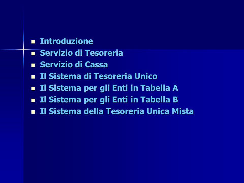 Introduzione Introduzione Servizio di Tesoreria Servizio di Tesoreria Servizio di Cassa Servizio di Cassa Il Sistema di Tesoreria Unico Il Sistema di