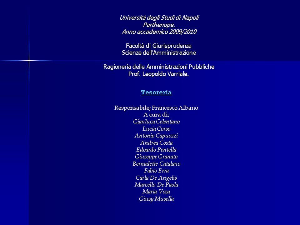 Università degli Studi di Napoli Parthenope. Anno accademico 2009/2010 Facoltà di Giurisprudenza Scienze dellAmministrazione Ragioneria delle Amminist