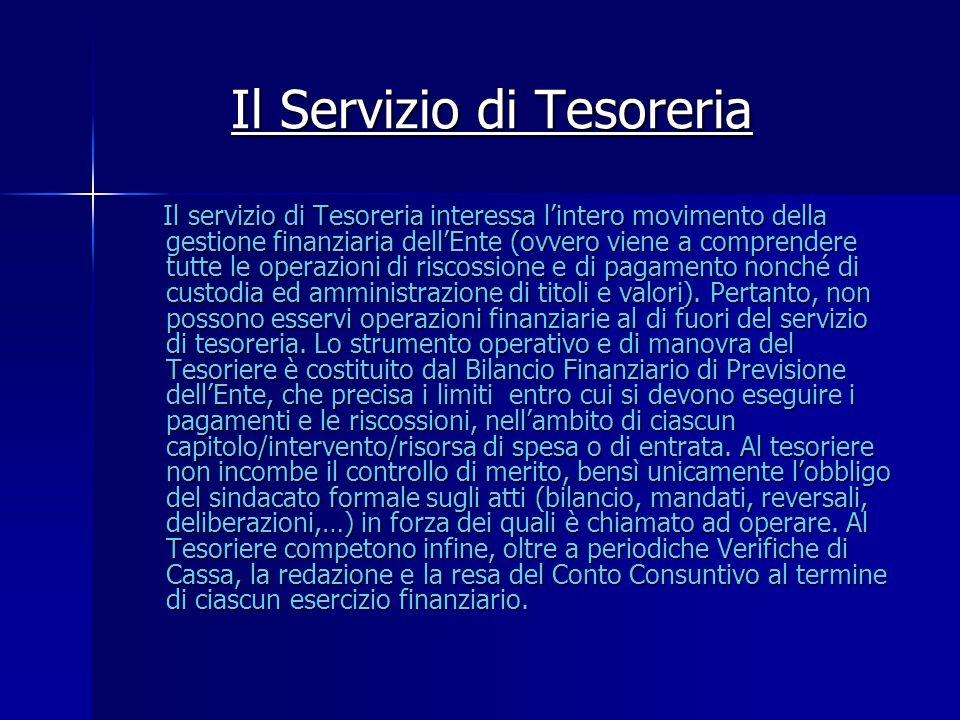 Il Servizio di Tesoreria Il servizio di Tesoreria interessa lintero movimento della gestione finanziaria dellEnte (ovvero viene a comprendere tutte le
