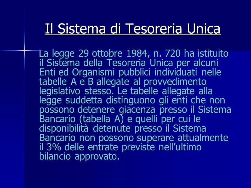 Il Sistema di Tesoreria Unica La legge 29 ottobre 1984, n. 720 ha istituito il Sistema della Tesoreria Unica per alcuni Enti ed Organismi pubblici ind