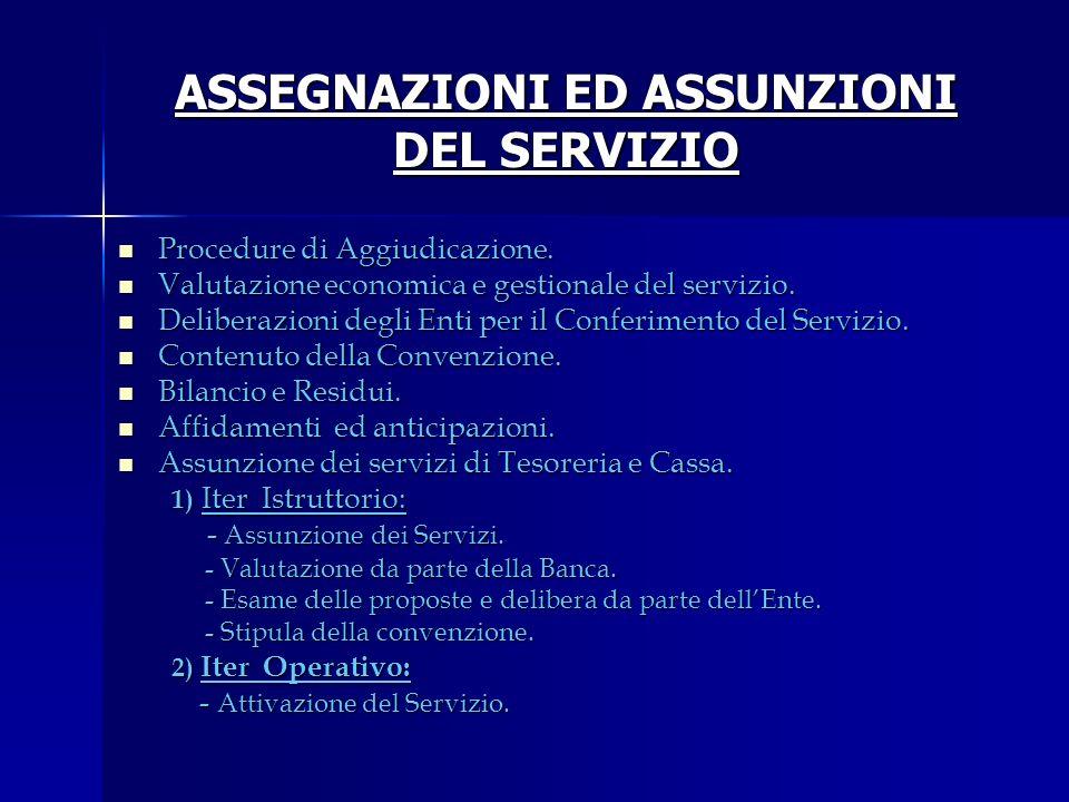ASSEGNAZIONI ED ASSUNZIONI DEL SERVIZIO Procedure di Aggiudicazione. Procedure di Aggiudicazione. Valutazione economica e gestionale del servizio. Val