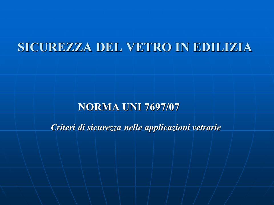 SICUREZZA DEL VETRO IN EDILIZIA NORMA UNI 7697/07 Criteri di sicurezza nelle applicazioni vetrarie