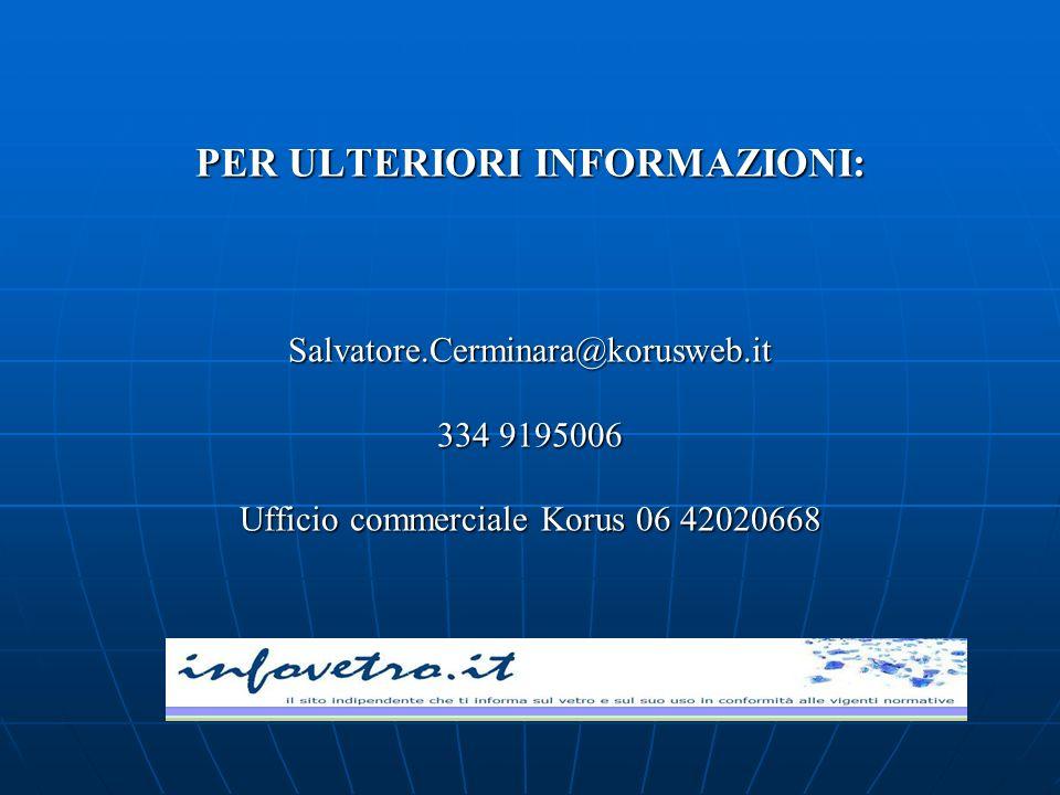 PER ULTERIORI INFORMAZIONI: Salvatore.Cerminara@korusweb.it 334 9195006 Ufficio commerciale Korus 06 42020668