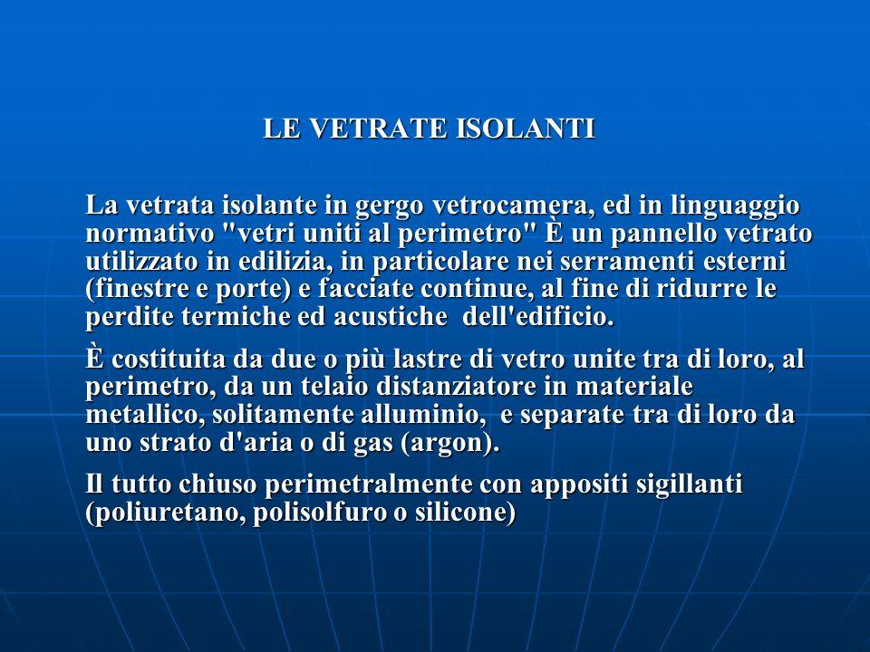 LE VETRATE ISOLANTI LE VETRATE ISOLANTI La vetrata isolante in gergo vetrocamera, ed in linguaggio normativo