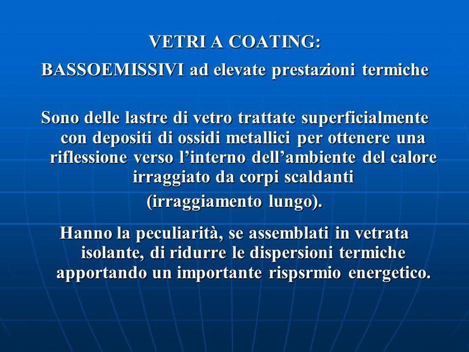 VETRI A COATING: BASSOEMISSIVI ad elevate prestazioni termiche Sono delle lastre di vetro trattate superficialmente con depositi di ossidi metallici p