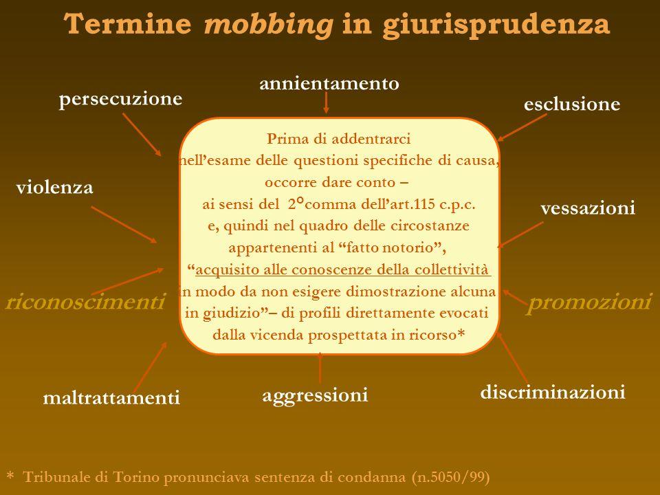 Termine mobbing in giurisprudenza violenza persecuzione maltrattamenti esclusione aggressioni discriminazioni Prima di addentrarci nellesame delle que