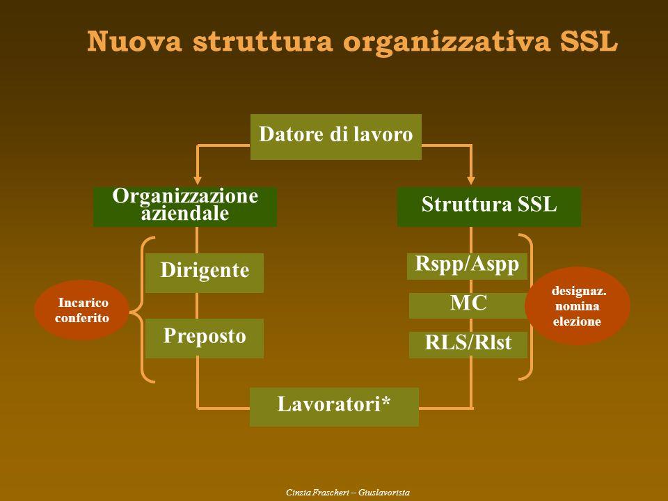 Nuova struttura organizzativa SSL Organizzazione aziendale Dirigente Preposto Incarico conferito Struttura SSL Rspp/Aspp MC RLS/Rlst designaz. nomina