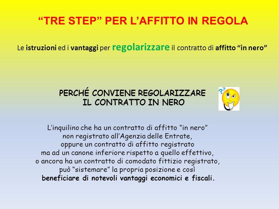 TRE STEP PER LAFFITTO IN REGOLA Le istruzioni ed i vantaggi per regolarizzare il contratto di affitto in nero PERCHÉ CONVIENE REGOLARIZZARE IL CONTRAT