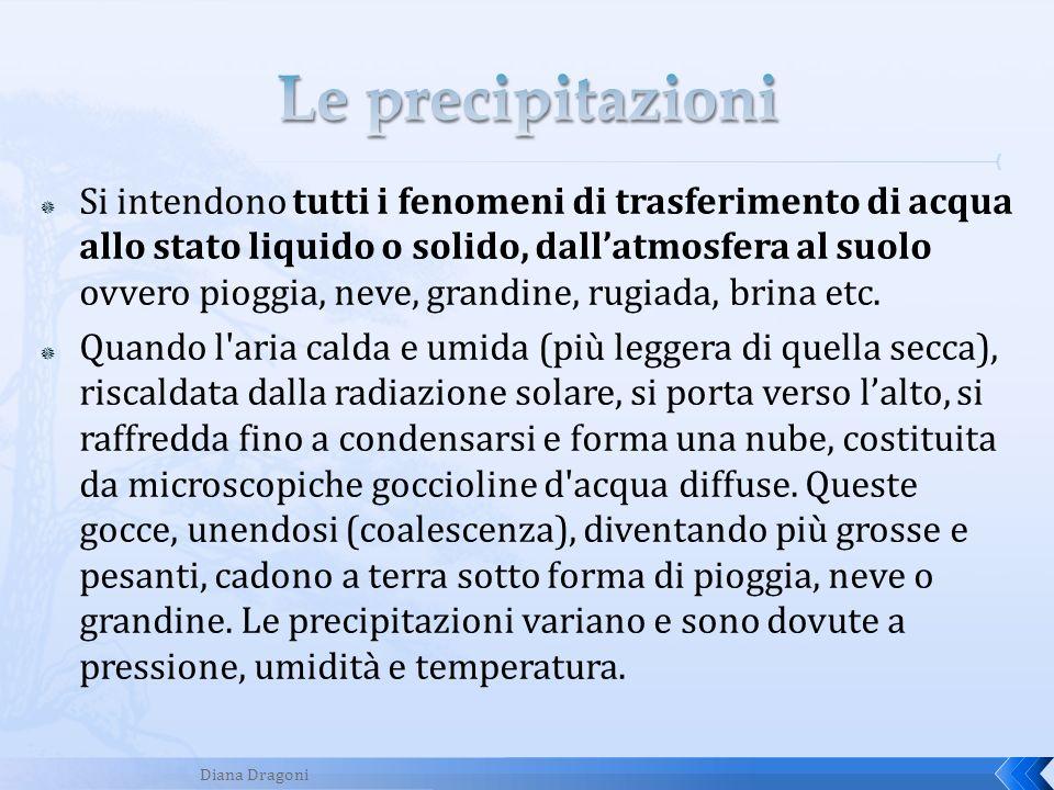 Si intendono tutti i fenomeni di trasferimento di acqua allo stato liquido o solido, dallatmosfera al suolo ovvero pioggia, neve, grandine, rugiada, b
