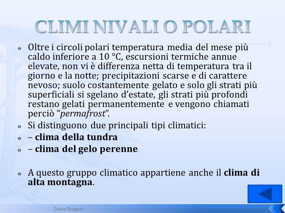 Oltre i circoli polari temperatura media del mese più caldo inferiore a 10 °C, escursioni termiche annue elevate, non vi è differenza netta di tempera