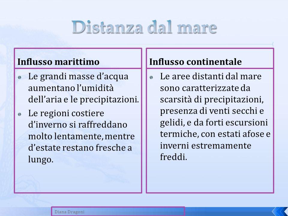 Influsso marittimo Le grandi masse dacqua aumentano lumidità dellaria e le precipitazioni. Le regioni costiere dinverno si raffreddano molto lentament
