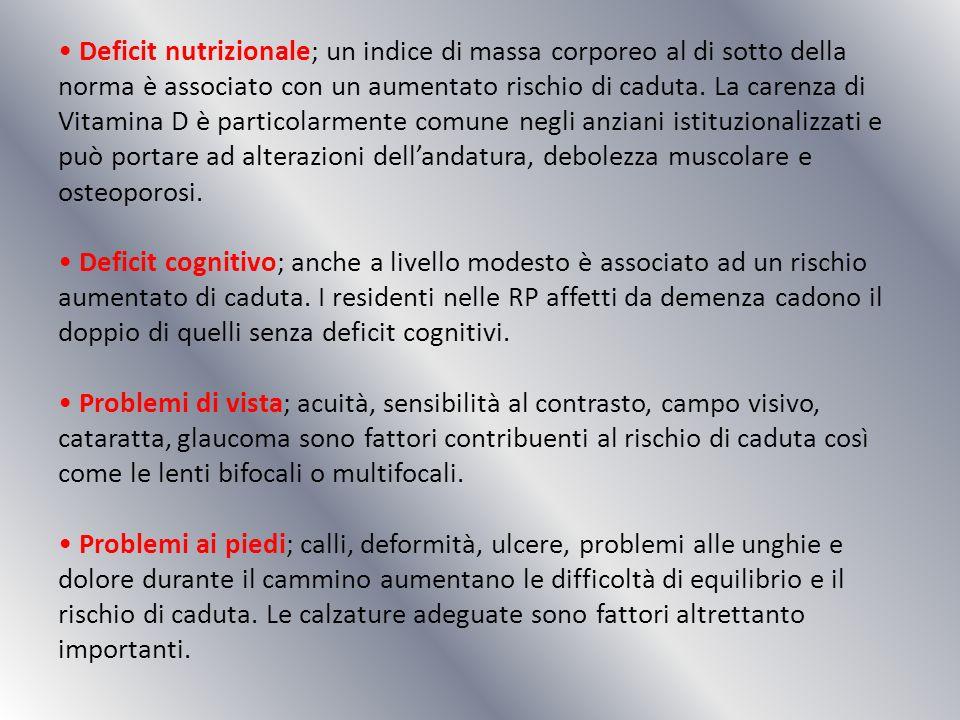Deficit nutrizionale; un indice di massa corporeo al di sotto della norma è associato con un aumentato rischio di caduta. La carenza di Vitamina D è p