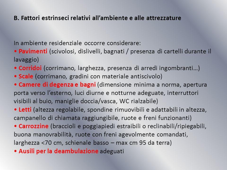 B. Fattori estrinseci relativi allambiente e alle attrezzature In ambiente residenziale occorre considerare: Pavimenti (scivolosi, dislivelli, bagnati
