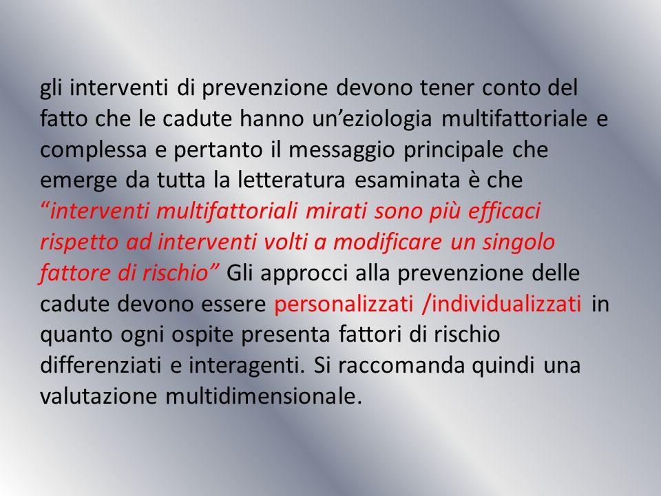 gli interventi di prevenzione devono tener conto del fatto che le cadute hanno uneziologia multifattoriale e complessa e pertanto il messaggio princip