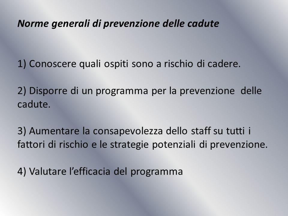 Norme generali di prevenzione delle cadute 1) Conoscere quali ospiti sono a rischio di cadere. 2) Disporre di un programma per la prevenzione delle ca