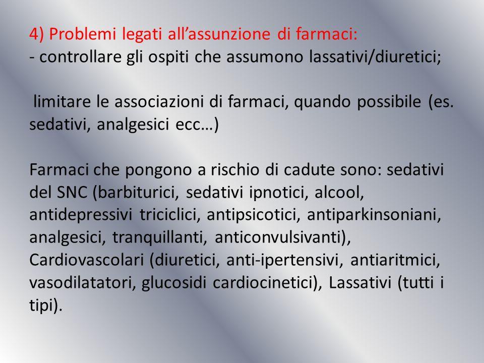 4) Problemi legati allassunzione di farmaci: - controllare gli ospiti che assumono lassativi/diuretici; limitare le associazioni di farmaci, quando po