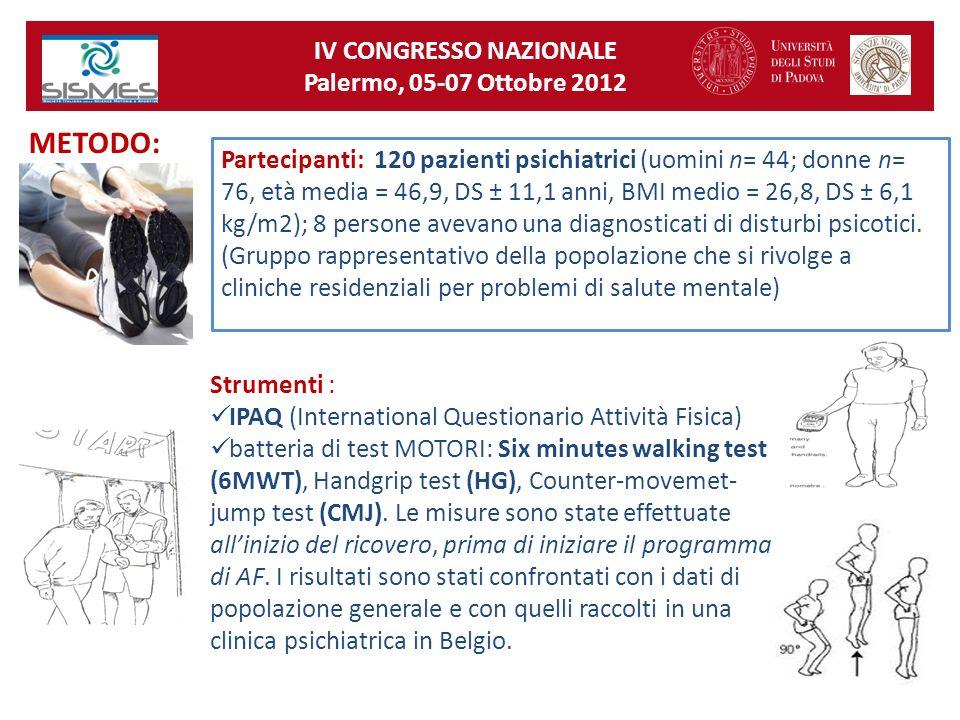 Partecipanti: 120 pazienti psichiatrici (uomini n= 44; donne n= 76, età media = 46,9, DS ± 11,1 anni, BMI medio = 26,8, DS ± 6,1 kg/m2); 8 persone ave