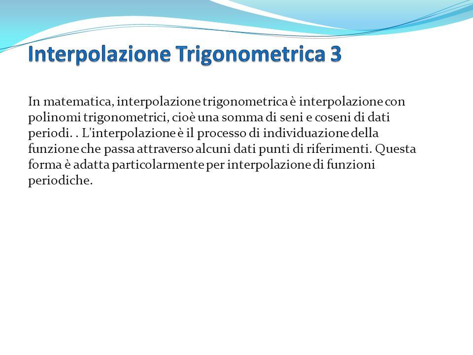 In matematica, interpolazione trigonometrica è interpolazione con polinomi trigonometrici, cioè una somma di seni e coseni di dati periodi.. L'interpo