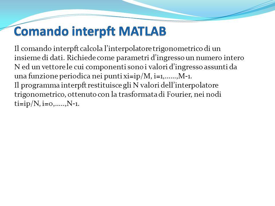Il comando interpft calcola linterpolatore trigonometrico di un insieme di dati. Richiede come parametri dingresso un numero intero N ed un vettore le