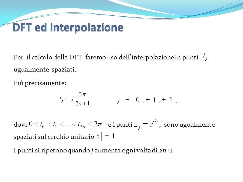 Per il calcolo della DFT faremo uso dellinterpolazione in punti ugualmente spaziati. Più precisamente: dove e i punti, sono ugualmente spaziati sul ce