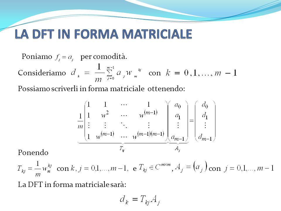 Consideriamo con Possiamo scriverli in forma matriciale ottenendo: Ponendo con e, con La DFT in forma matriciale sarà: Poniamo per comodità.