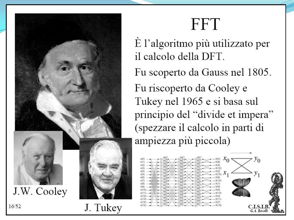 Il cuore dellalgoritmo FFT sta nella scomposizione in due sommatorie della sommatoria per il calcolo dei coefficienti della DFT selezionando in modo o